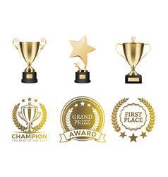 goblets and certificates for win in contest set vector image