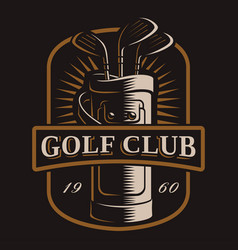 golf clubs logo on dark background vector image