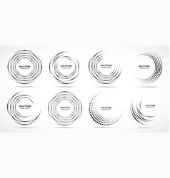 Halftone circle dotted frame logo design element vector