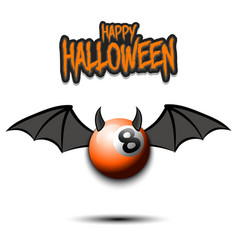 Halloween billiard ball with horns and wings vector