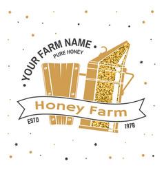 honey bee farm badge concept for print vector image