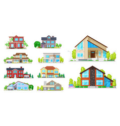house cottage villa and mansion building icons vector image