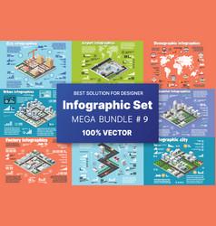 Isometric set infographics concept blocks vector