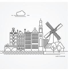 linear amsterdam netherlands vector image