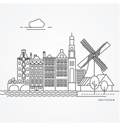 linear of amsterdam netherlands vector image