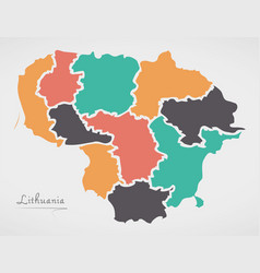 lithuania map with states and modern round shapes vector image