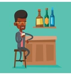 Man sitting at the bar counter vector