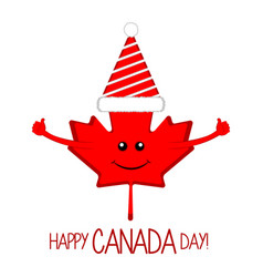 maple leaf with a party hat canada day vector image