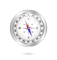 Metal compass on white background vector