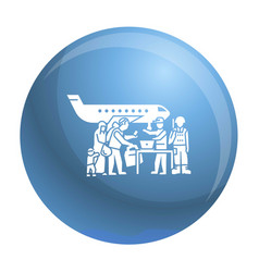 Migrant people on plane icon simple style vector