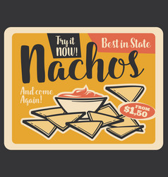 Nacho retro banner of mexican fast food restaurant vector