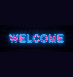 neon inscription welcome vector image