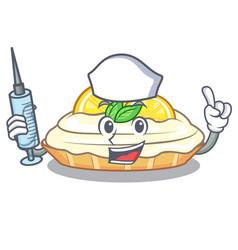 Nurse cartoon lemon cake with lemon slice vector