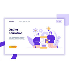 Online education web page banner vector