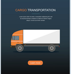 Orange cargo delivery truck isolated on dark backg vector
