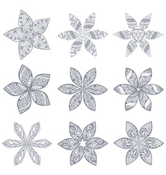 Ornament kaleidoscopic floral pattern Set of nine vector