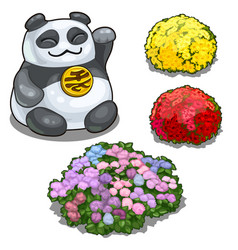 Panda with hieroglyph feng shui and flower beds vector
