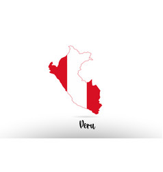 peru country flag inside map contour design icon vector image