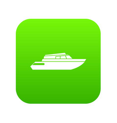 planing powerboat icon digital green vector image