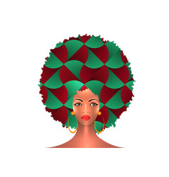 Portrait african american woman curly hair style vector