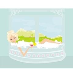 pretty girl with drink in bath enjoying elegant vector image