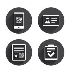QR scan code icon Boarding pass flight sign vector