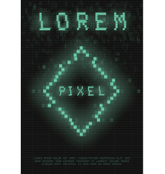 Retrofuturistic poster with a cyber glitch pixel vector