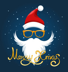 Santa hat glasses and beard poster vector