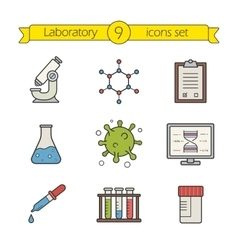 Science laboratory tools color icons set vector