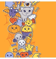 Seamless halloween kawaii pattern with sticker vector image