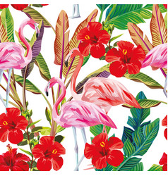 seamless tropical pattern flamingo hibiscus plants vector image