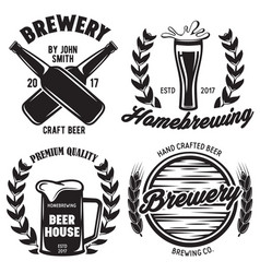 set brewery logos labels badge templates vector image