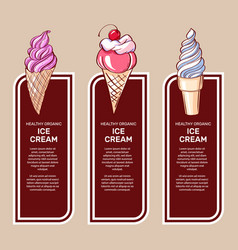 set of brochures with sweets ice cream vector image