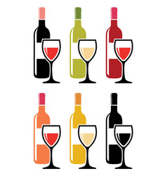 set of colorful icons of red wine bottles with vector image