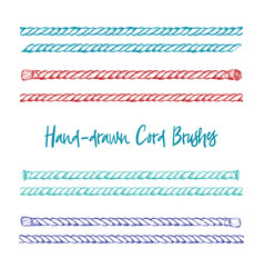 set of hand-drawn cord brushes in vintage vector image