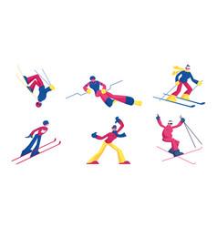 Set sportsmen freestyle skiing jump winter vector