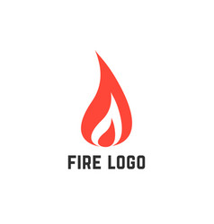 simple red fire logo vector image