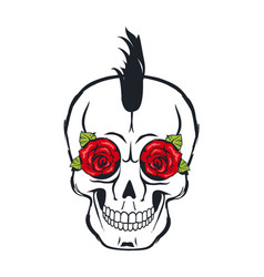 skull icon with roses and leaves colorful poster vector image