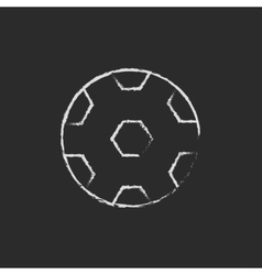 Soccer ball icon drawn in chalk vector image