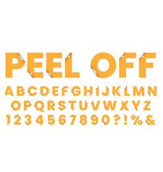 Sticker font peel off letters font vector