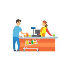 Supermarket store cashier client customer vector