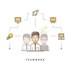 Teamwork three cartoon characters standing vector
