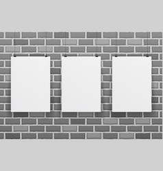 three blank white paper sheet on raw brick wall vector image