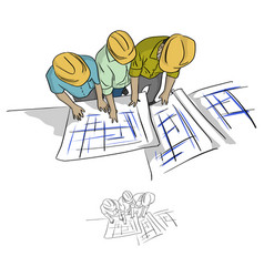 Top view three construction engineer vector