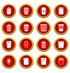 Trash can icon red circle set vector