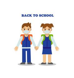Two children go to school wearing masks vector