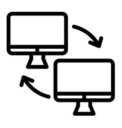 two computer with arrows line icon computer vector image