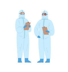 Two diverse male doctors in protective suits vector