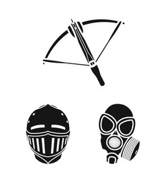 Types of weapons black icons in set collection for vector