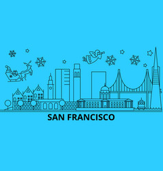 united states san francisco city winter holidays vector image